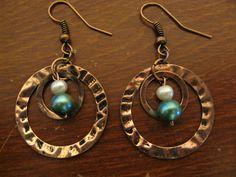 HANDMADE: Copper Loops & Pearls (White & Aqua) Earrings ($12)