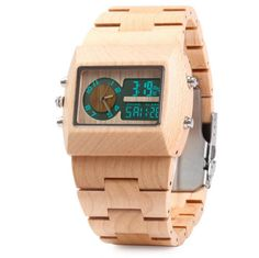 Bamboo Wooden Men Quartz Watch with Double Movement Luminous Display    Item specifics    Item Type:Wristwatches                                     Case Material:Wooden  Dial Window Material Type:Hardlex                  Dial Material Type:Wooden  Water Resistance Depth:30m                            Movement:Quartz  Dial Diameter:4.7 cm                                           Band Width:20mm to 29mm  Boxes & Cases Material:Paper                           Clasp Type:Folding Clasp with…