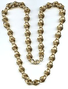 "Vtg 1980s Chunky KNOT Chain Link Gold Tone Necklace Opera Length 29"" Around  $24.95"