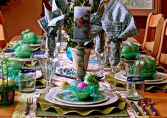 Layer your Easter table setting with fun prints and color