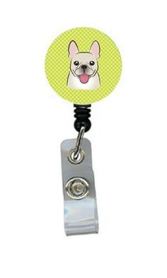 Checkerboard Lime Green French Bulldog Retractable Badge Reel BB1300BR