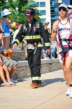 Fireman doing Ironman Triathlon in full gear, in May Tx. Heat!