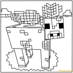Minecraft Mooshroom Coloring Page - Coloring Pages For Kids And Adults:  This coloring page features a picture of Minecraft Mooshroom to color. It is printable and can be used in the classroom or at home for kids.  http://coloringpagesonly.com/pages/minecraft-mooshroom-