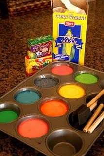 "Corn starch, water, food coloring, muffin tins, and some foam brushes. mix up a real thin solution of corn starch and water in a pyrex measuring cup, pour the white ""paint"" into the muffin tins. add a few drops of food coloring to the solution."