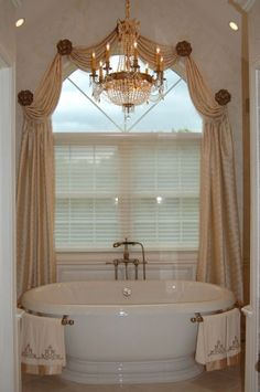 Having great windows is a major plus in any home–they add character and provide much coveted natural light. Without window treatments, however, the space will look unfinished. - Check Out THE IMAGE for Lots of Ideas for Unique Window Treatments. Arched Window Treatments, Bathroom Window Treatments, Bathroom Windows, Window Coverings, Curtains For Kitchen Window, Bathroom Curtains, Curtains For Arched Windows, Drapes Curtains, Small Windows