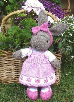 Another sweet rabbit knitting pattern by Debi Birkin, this time dressed in a pink jumper with delicate embellishments. This would make a lovely present for a lucky little girl.