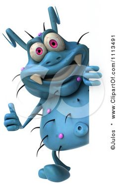Clipart 3d Blue Germ Holding A Sign 1 - Royalty Free CGI Illustration by Julos