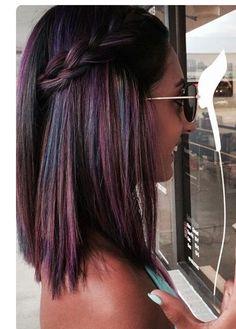 Cool multicoloured braid in dark hair - Romance Hair - Hair Color And Cut, Cool Hair Color, Oil Slick Hair Color, Ombre Hair, Balayage Hair, Haircolor, Hair Inspo, Hair Inspiration, Pinterest Hair