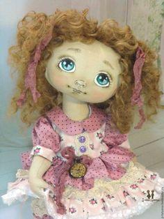 Купить Ника. Текстильная шарнирная авторская кукла - кремовый, текстильная кукла, авторская кукла