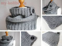 Модный шарф снуд спицами «Universal» с манжетой на пуговице
