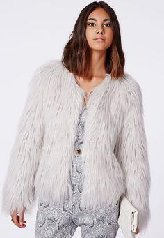 Cassie Shaggy Faux Fur Coat Grey - Coats & Jackets - Missguided