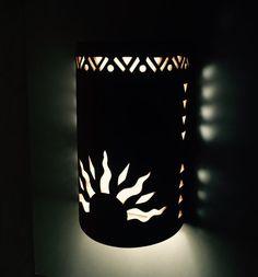 Ceramic exterior wall sconce half sun and by CustomCutLighting