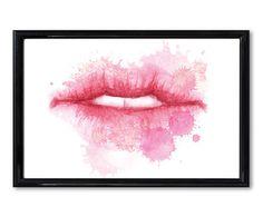 Digitale print met lijst Lips, transparant, 30 x 24 cm