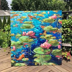 The woman who commissioned this piece knew exactly what she wanted: a big, extremely bright and colorful painting of lily pads. I just finished it today and she is very happy! Water Lilies Painting, Lotus Painting, Lily Painting, Oil Painting Flowers, Bright Paintings, Beautiful Paintings, Flower Canvas, Flower Art, Inspiration Art