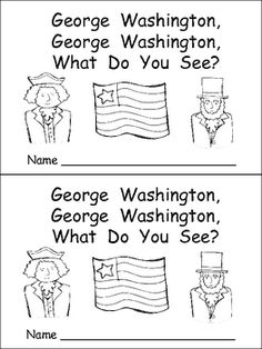 """This emergent reader little book is a great way to practice reading with young students. This story uses a predictable pattern, """"George Washington, George Washington, what do you see?"""" to support emerging readers.    This story includes several President's Day vocabulary words, such as George Washington, Washington Monument, Betsy Ross, American flag, bald eagle, the Capitol, Lincoln Memorial, and Abraham Lincoln."""