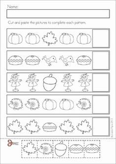 Fall Math Cut and Paste Worksheets | Cut And Paste, Worksheets and ...