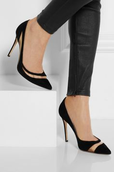 Gianvito RossiMesh-paneled suede pumps