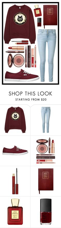 """#312 red"" by xjet1998x ❤ liked on Polyvore featuring Frame Denim, Vans, Charlotte Tilbury, Kevyn Aucoin, Sloane Stationery, Bella Bellissima, NARS Cosmetics, women's clothing, women's fashion and women"