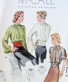 BEAUTIFUL 1930s BLOUSE PATTERN STUNNING GATHERED STYLE, FITTED GIRDLE WAIST, McCALL 9572