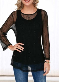 Sequin Embellished Black Fishnet Camisole and Top Casual T Shirts, Cute Shirts, Grunge, Black Fishnets, Trendy Clothes For Women, Top Sales, Half Sleeves, Jeans, Camisole