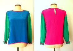 ✦ 80s Bright COLOR BLOCK SILK Blouse by LolaVintage on Etsy. http://etsy.me/19tto35