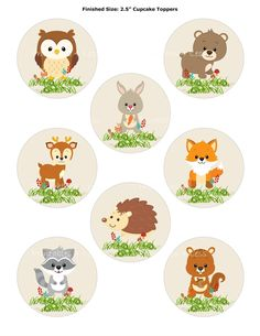 Woodland Cupcake Topper, Forest Cupcake Topper, Fox Cupcake Topper, Woodland Animal Topper, Printable Woodland Baby – Printables 4 Less 0087 - Cupcake Baby Shower Ideen Woodland Baby, Woodland Animals, Woodland Theme, Forest Animals, Baby Shower Cupcake Toppers, Shower Cake, Baby Cupcake, Cupcake Picks, Shower Party