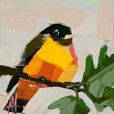 """Daily Paintworks - """"Maryland Baltimore Oriole Painting"""" - Original Fine Art for Sale - © Angela Moulton"""