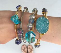 Stackable Stone Wire Wrapped Bracelet Set- 5 pc!