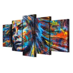 wall art canvas painting 5 piece HD print colorful hair figure woman face posters and prints canvas art home decor Canvas Wall Art, Canvas Prints, Canvas Frame, Art Gallery, Tableau Design, Abstract Digital Art, Modern Canvas Art, Home Decor Signs, Wall Art