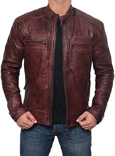 Brown Leather Jacket Men for Bikers - Distressed Lambskin Waxed Motorcycle Leather Jacket - Lederjacke Brown Leather Jacket Men, Distressed Leather Jacket, Leather Jacket Outfits, Lambskin Leather Jacket, Vintage Leather Jacket, Leather Skirts, Brown Jacket, Leather Men, Leather Pants