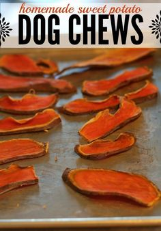 DIY Homemade Dog Chews made from sweet potatoes. All you need to do is slice up some sweet potatoes and bake - doesn't get much easier than that! Plus the price at pet smart for natural sweet potato treats is around $13 - I like spending $2 instead. Plus my dog is really really happy!