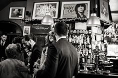 The most un-weddingy wedding venue, perfect! Bride and groom at The Peasant, Clerkenwell.