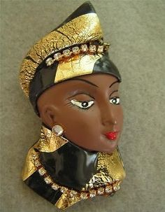 Vintage Old Black Gold Rhinestones Ethnic Lady Woman Head Face Brooch Pin | eBay