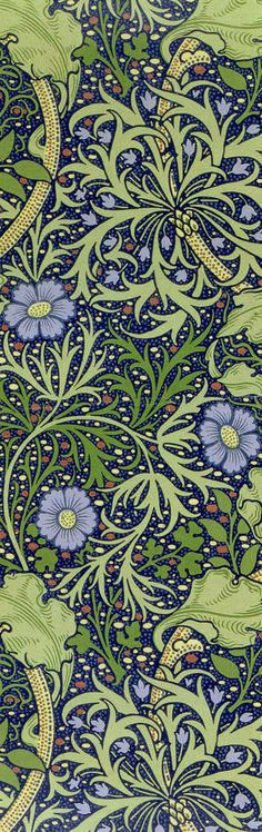 'Seaweed' by John Henry Dearle, produced in William Morris like wallpaper Motifs Textiles, Textile Patterns, Print Patterns, Weaving Textiles, William Morris, Motifs Art Nouveau, Art Nouveau Design, Fabric Wallpaper, Pattern Wallpaper