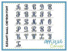 Elegant Small Chevron Embroidery Font 2.5-5.5''