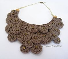 RESERVED for C. - Statement Necklace, Fiber, cotton yarn, crochet, clay, brass…