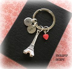 Your place to buy and sell all things handmade Heart Keyring, Key Chains, Little Red, Laser Engraving, Valentine Day Gifts, Initials, Tower, Buy And Sell, Gift Ideas