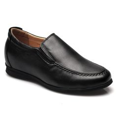 Black Leather elevator shoes For Men's Casual Shoes; Model :010H01-1; Height : 6.5cm (2.56 inch)