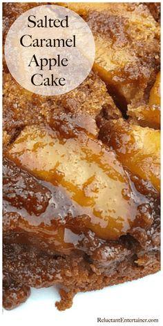 Moist, upside down Salted Caramel Apple Cake recipe #updsidedowncake #applecake #saltedcaramel