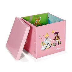 Playmobil - Boites de rangement enfants-Rangements pour chambre enfant Boite carrée 2 en 1 à motif Playmobil