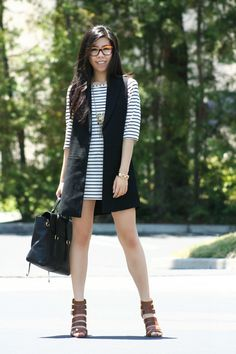 What to Wear with Breton Stripes l Nautical Striped DIY Dress + Black Sleeveless Duster Coat + Pashli