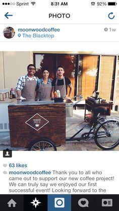 Need coffee!? This awesome mobile coffee cart is perfect for any wedding, party, or event!