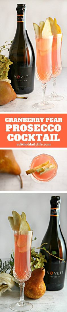 This Cranberry Pear Prosecco cocktail recipe is amazingly refreshing with a delicate fizz - an easy spring cocktail that you can make in just 5 minutes! It's perfect for your Easter dinner, Mother's Day brunch, wedding and baby showers, or any other spring (or summer) celebration! Sponsored by #VOVETI #CleverGirls