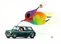 Hitchhiking - Colormonster style.  #watercolor #minicooper #austinmini