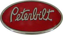 Peterbilt Chrome Finish Oval Belt Buckle with Red Enamel Background