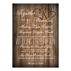 Rustic Country Wedding Invitations with hearts for a country style wedding. Discount Sale Prices up to OFF when you order 100 or more invitations. Western Wedding Invitations, Discount Wedding Invitations, Typography Wedding Invitations, Affordable Wedding Invitations, Laser Cut Wedding Invitations, Rustic Invitations, Invitations Online, Shower Invitations, Dinner Invitations