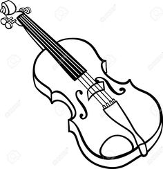 Black And White Cartoon Illustration Of Violin Musical Instrument