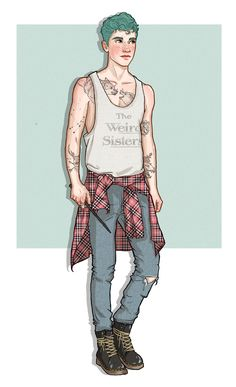 Teddy Lupin by http://knot-all-men.tumblr.com/ (tattoos are; stag, andromeda constellation, wolves, black house crest, badger skull)