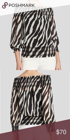 Michael Kors blouse Michael Kors Black and white animal print off the shoulder blouse. Size medium. Like new. Michael Kors Tops Blouses