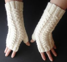 Fingerless Gloves Bamboo Angora  Soft White Hand Knit by ginaminda, $44.00 CUTE FOR WHEN I'M ON THE LAPTOP AND MY HANDS ARE COLD!